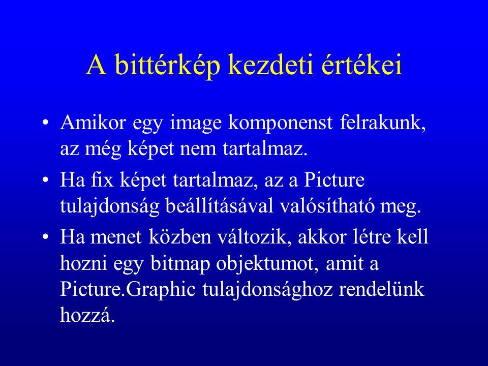 A bittérkép kezdeti értékei Amikor egy image komponenst felrakunk, az még képet nem tartalmaz. Ha fix képet tartalmaz, az a Picture tulajdonság beállí