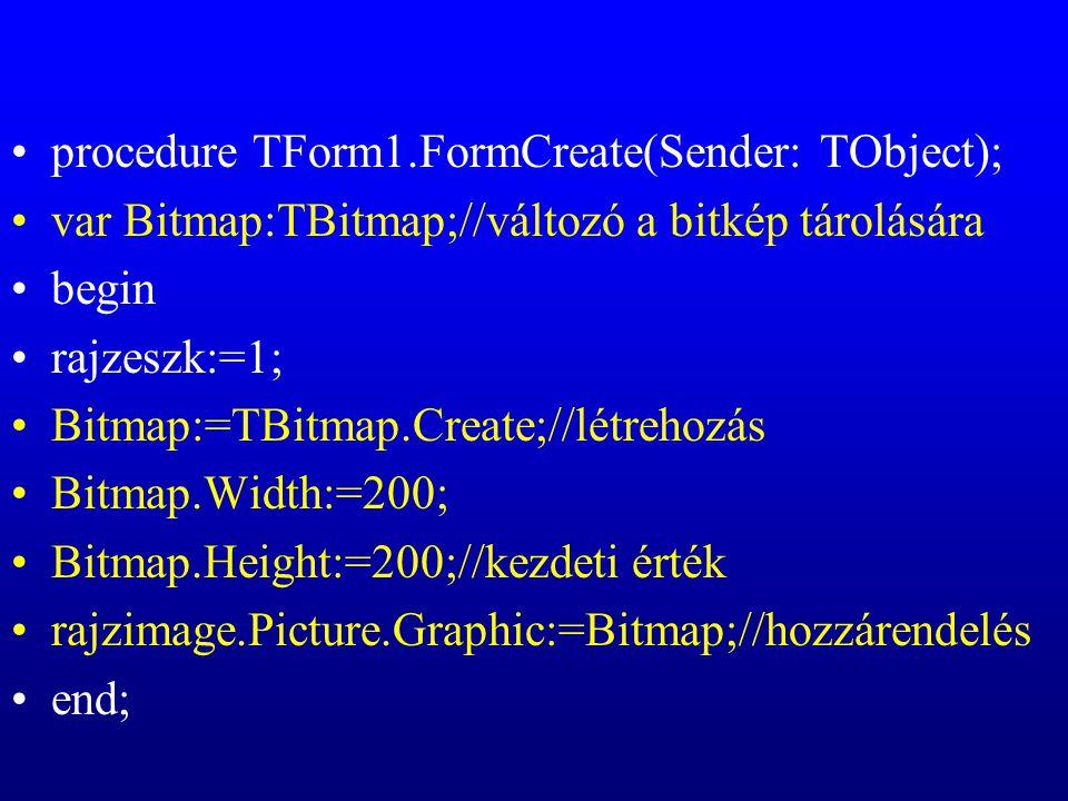 procedure TForm1.FormCreate(Sender: TObject); var Bitmap:TBitmap;//változó a bitkép tárolására begin rajzeszk:=1; Bitmap:=TBitmap.Create;//létrehozás