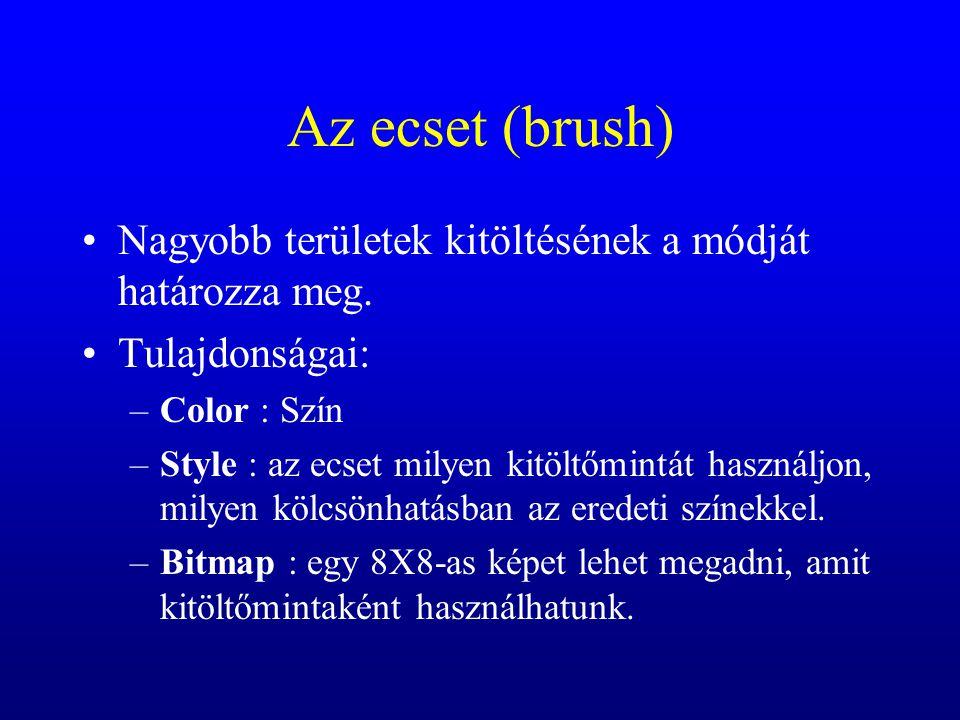 Az ecset (brush) Nagyobb területek kitöltésének a módját határozza meg. Tulajdonságai: –Color : Szín –Style : az ecset milyen kitöltőmintát használjon