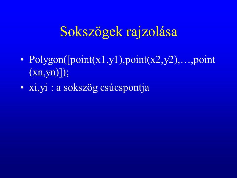 Sokszögek rajzolása Polygon([point(x1,y1),point(x2,y2),…,point (xn,yn)]); xi,yi : a sokszög csúcspontja