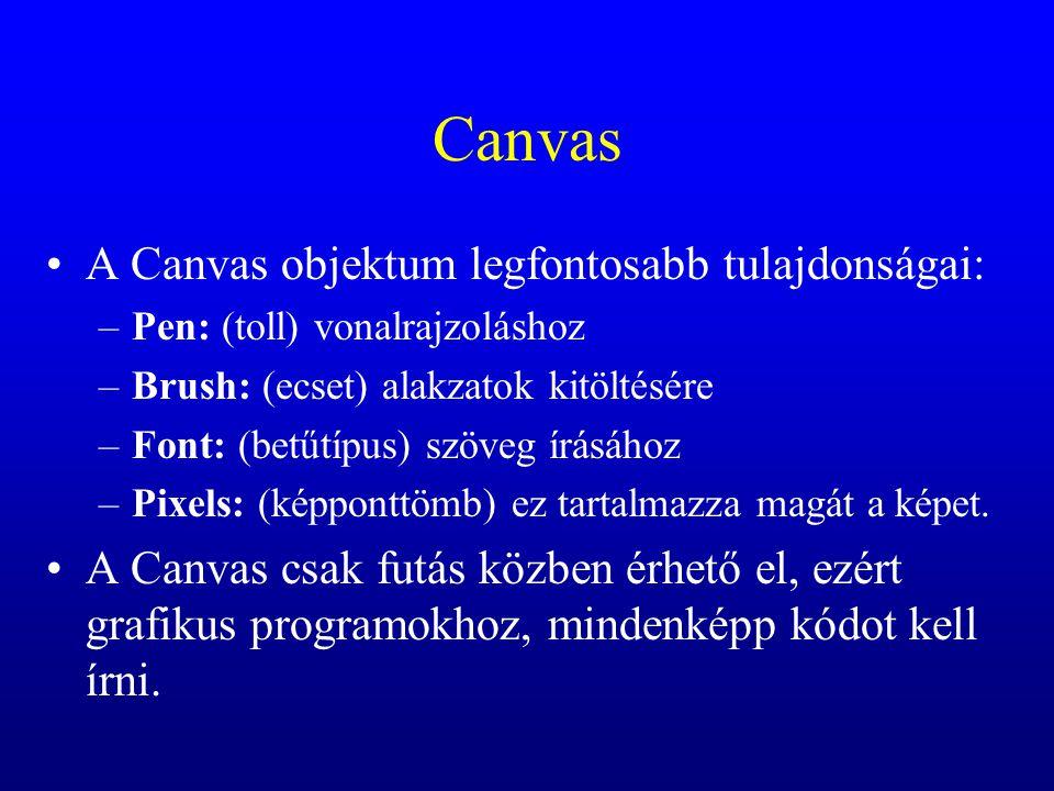 Canvas A Canvas objektum legfontosabb tulajdonságai: –Pen: (toll) vonalrajzoláshoz –Brush: (ecset) alakzatok kitöltésére –Font: (betűtípus) szöveg írá