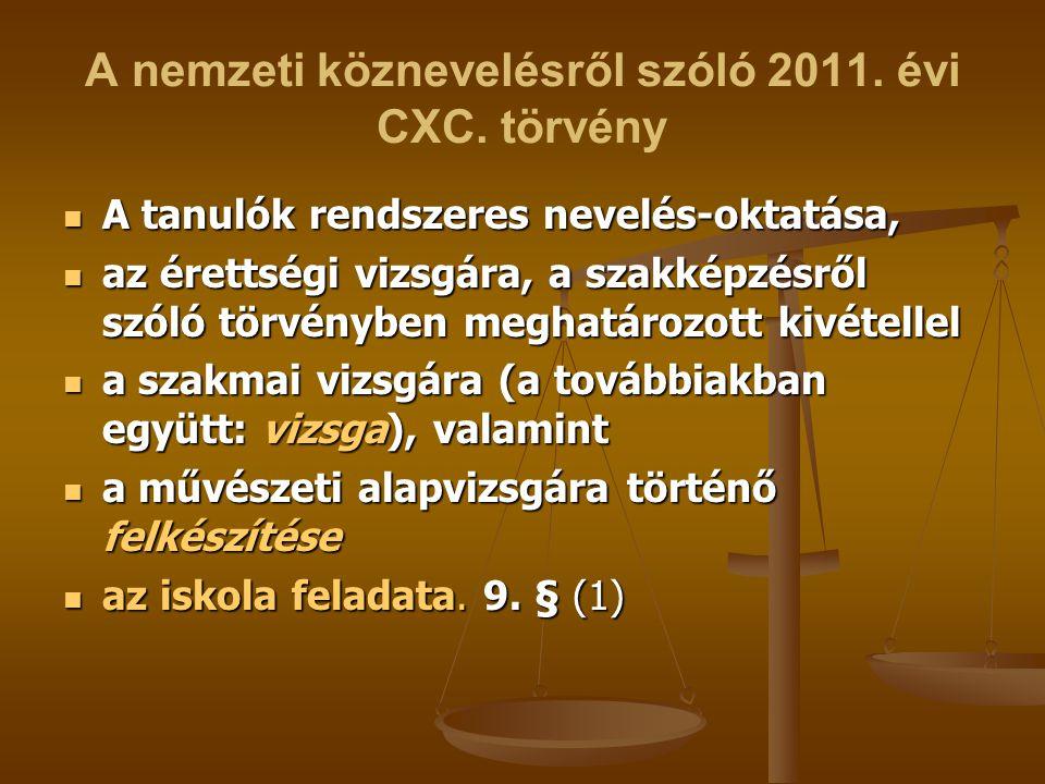 A nemzeti köznevelésről szóló 2011. évi CXC. törvény A tanulók rendszeres nevelés-oktatása, A tanulók rendszeres nevelés-oktatása, az érettségi vizsgá