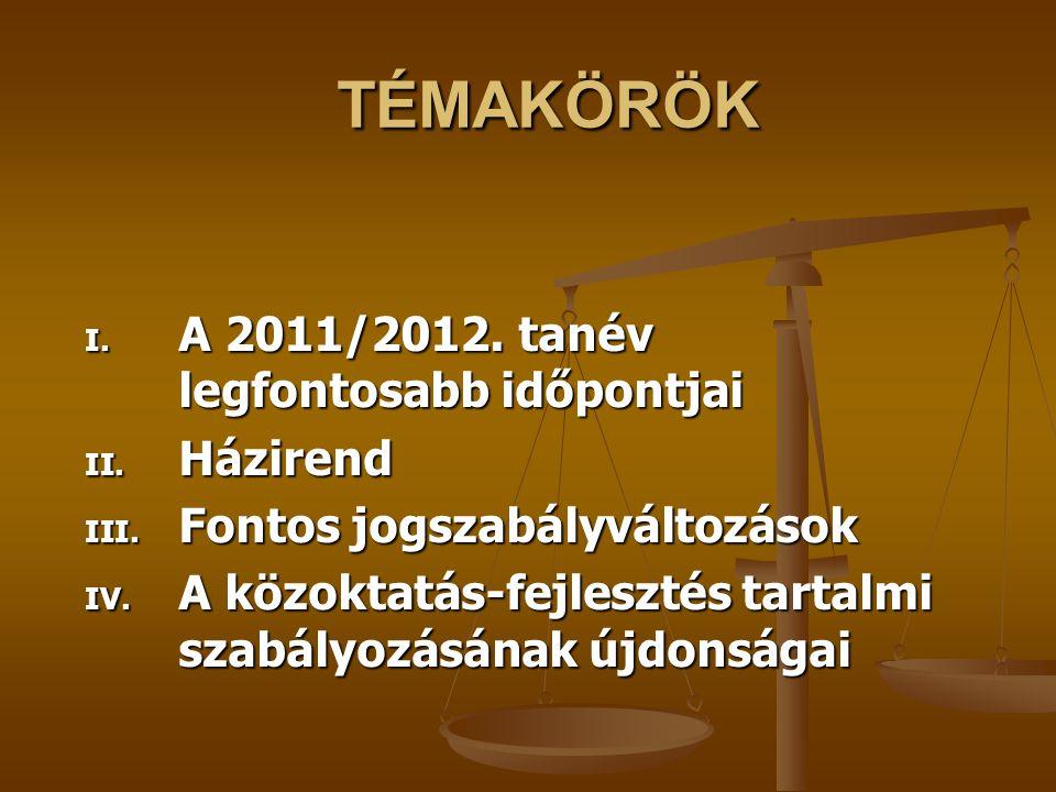 TÉMAKÖRÖK TÉMAKÖRÖK I. A 2011/2012. tanév legfontosabb időpontjai II. Házirend III. Fontos jogszabályváltozások IV. A közoktatás-fejlesztés tartalmi s