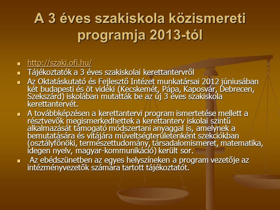 A 3 éves szakiskola közismereti programja 2013-tól http://szaki.ofi.hu/ http://szaki.ofi.hu/ http://szaki.ofi.hu/ Tájékoztatók a 3 éves szakiskolai ke