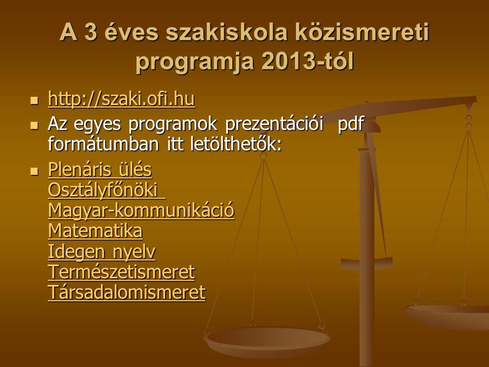 A 3 éves szakiskola közismereti programja 2013-tól http://szaki.ofi.hu http://szaki.ofi.hu http://szaki.ofi.hu Az egyes programok prezentációi pdf for