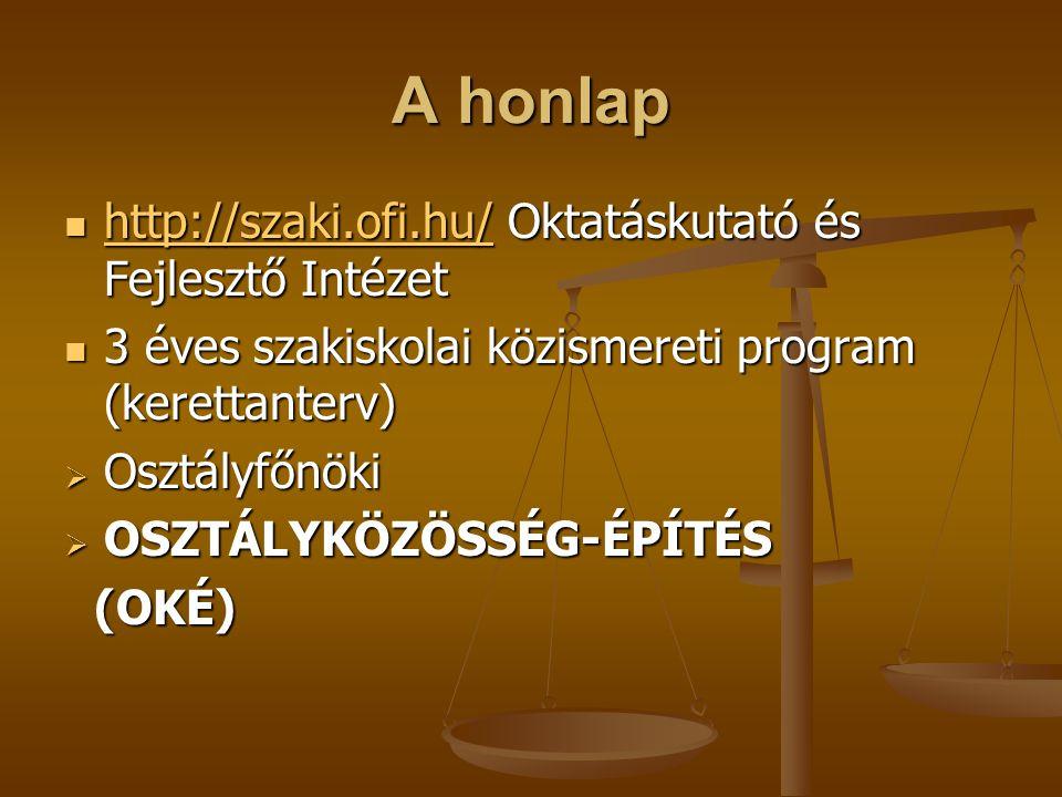 A honlap http://szaki.ofi.hu/ Oktatáskutató és Fejlesztő Intézet http://szaki.ofi.hu/ Oktatáskutató és Fejlesztő Intézet http://szaki.ofi.hu/ 3 éves s