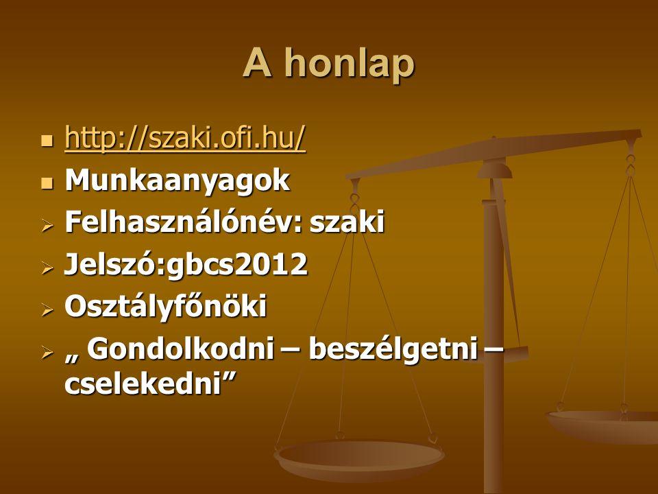 A honlap http://szaki.ofi.hu/ http://szaki.ofi.hu/ http://szaki.ofi.hu/ Munkaanyagok Munkaanyagok  Felhasználónév: szaki  Jelszó:gbcs2012  Osztályf