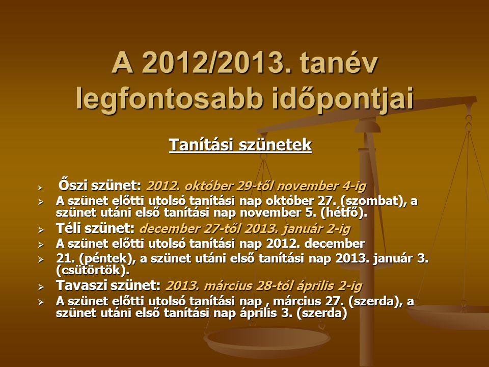 A 2012/2013. tanév legfontosabb időpontjai Tanítási szünetek  Őszi szünet: 2012. október 29-től november 4-ig  A szünet előtti utolsó tanítási nap o