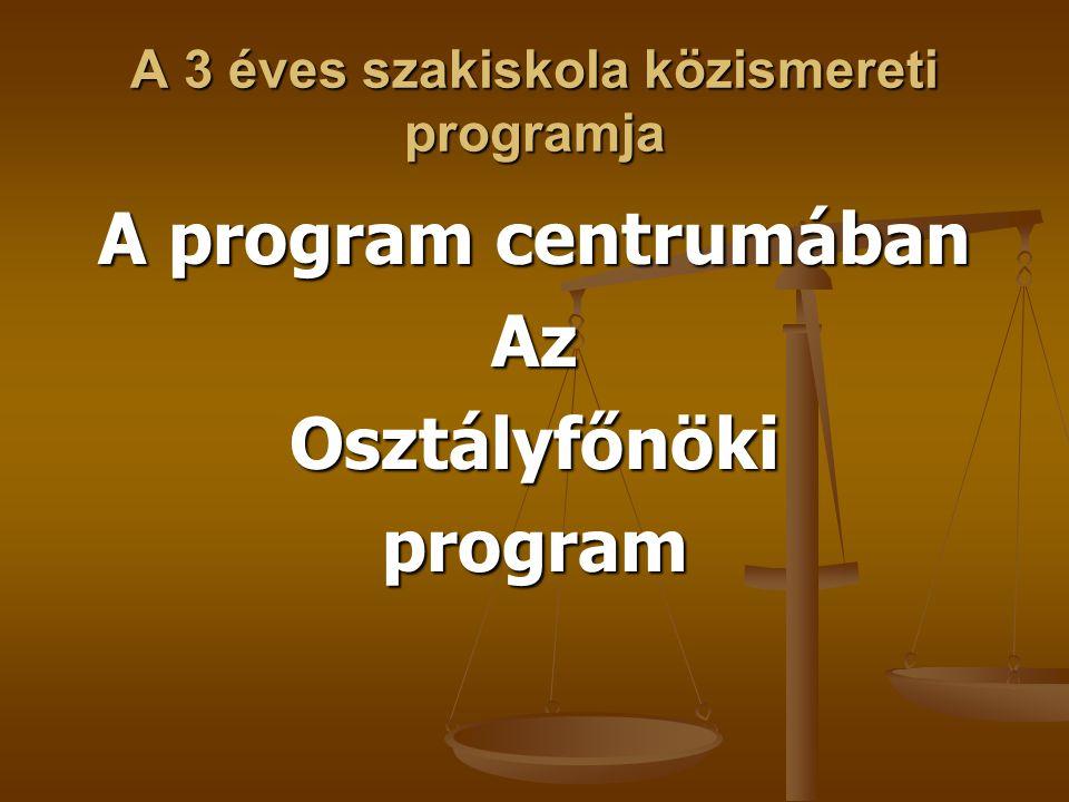 A 3 éves szakiskola közismereti programja A program centrumában AzOsztályfőnökiprogram