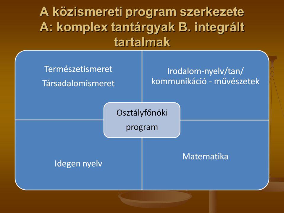 A közismereti program szerkezete A: komplex tantárgyak B. integrált tartalmak