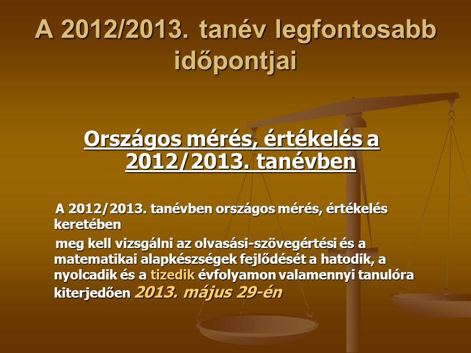 A 2012/2013. tanév legfontosabb időpontjai Országos mérés, értékelés a 2012/2013. tanévben A 2012/2013. tanévben országos mérés, értékelés keretében A
