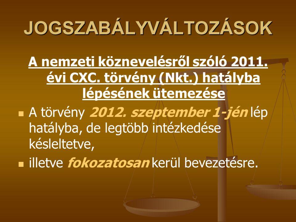JOGSZABÁLYVÁLTOZÁSOK A nemzeti köznevelésről szóló 2011. évi CXC. törvény (Nkt.) hatályba lépésének ütemezése A törvény 2012. szeptember 1-jén lép hat
