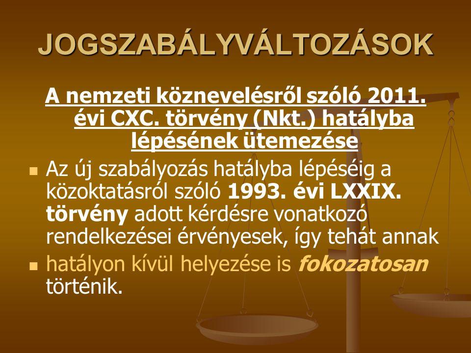 JOGSZABÁLYVÁLTOZÁSOK A nemzeti köznevelésről szóló 2011. évi CXC. törvény (Nkt.) hatályba lépésének ütemezése Az új szabályozás hatályba lépéséig a kö