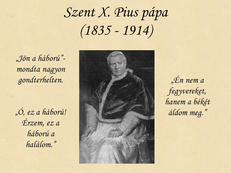 """Szent X. Pius pápa (1835 - 1914) """"Jön a háború""""- mondta nagyon gondterhelten. """"Ó, ez a háború! Érzem, ez a háború a halálom."""" """"Én nem a fegyvereket, h"""