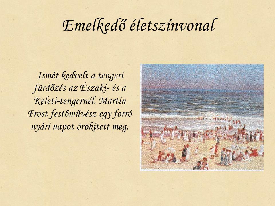 Emelkedő életszínvonal Ismét kedvelt a tengeri fürdőzés az Északi- és a Keleti-tengernél. Martin Frost festőművész egy forró nyári napot örökített meg