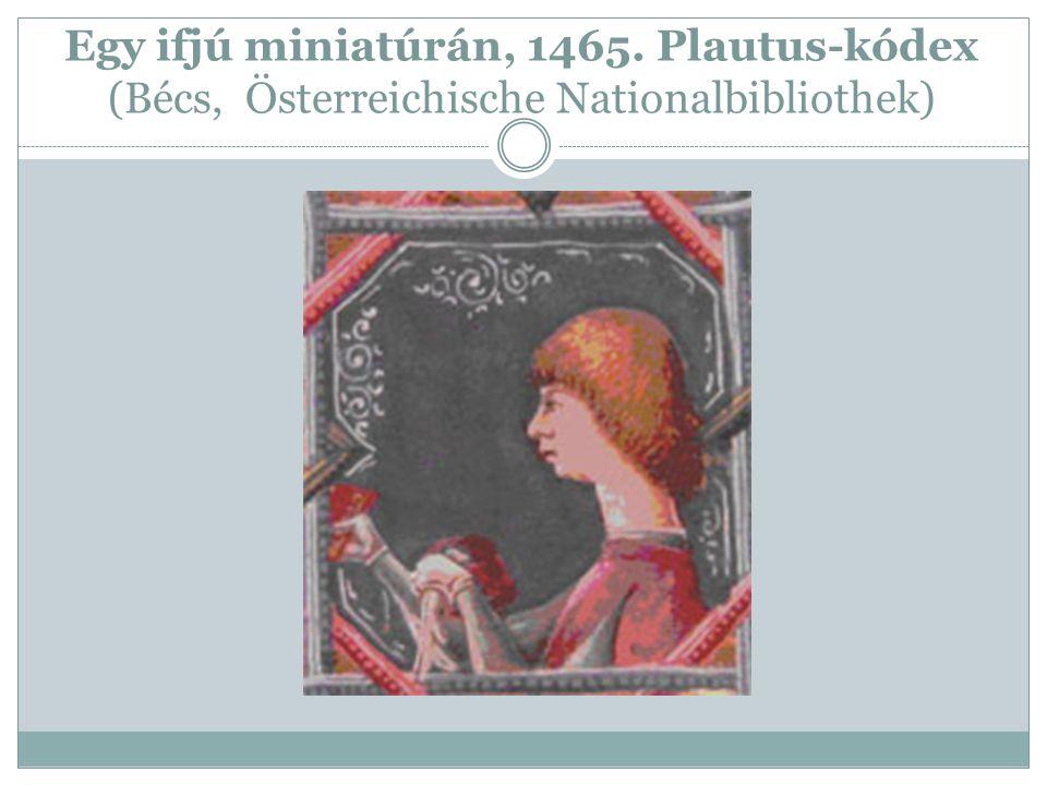 Egy ifjú miniatúrán, 1465. Plautus-kódex (Bécs, Österreichische Nationalbibliothek)