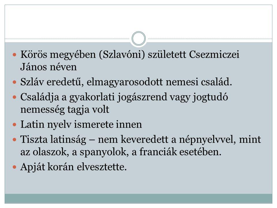 Körös megyében (Szlavóni) született Csezmiczei János néven Szláv eredetű, elmagyarosodott nemesi család. Családja a gyakorlati jogászrend vagy jogtudó