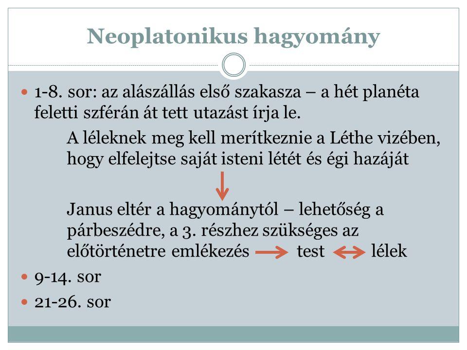 Neoplatonikus hagyomány 1-8. sor: az alászállás első szakasza – a hét planéta feletti szférán át tett utazást írja le. A léleknek meg kell merítkeznie