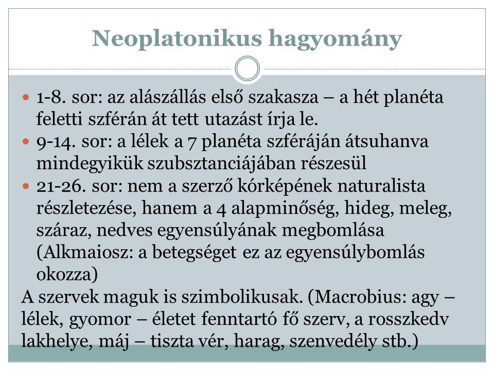 Neoplatonikus hagyomány 1-8. sor: az alászállás első szakasza – a hét planéta feletti szférán át tett utazást írja le. 9-14. sor: a lélek a 7 planéta