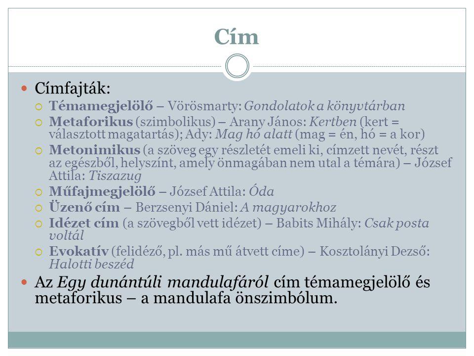 Cím Címfajták:  Témamegjelölő – Vörösmarty: Gondolatok a könyvtárban  Metaforikus (szimbolikus) – Arany János: Kertben (kert = választott magatartás