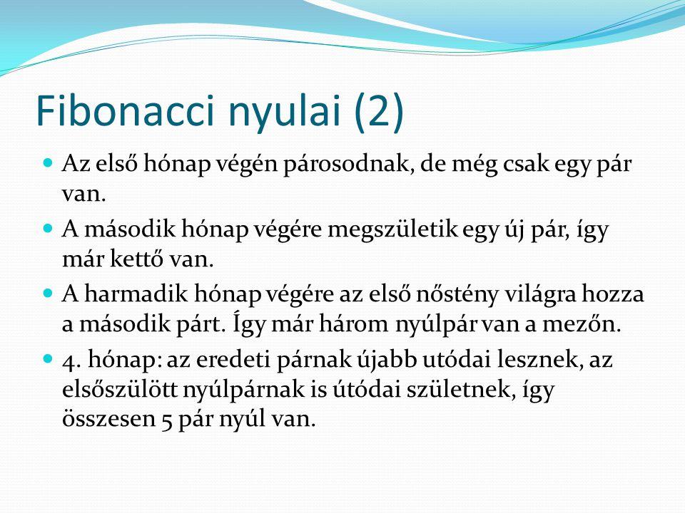 Fibonacci nyulai (2) Az első hónap végén párosodnak, de még csak egy pár van.