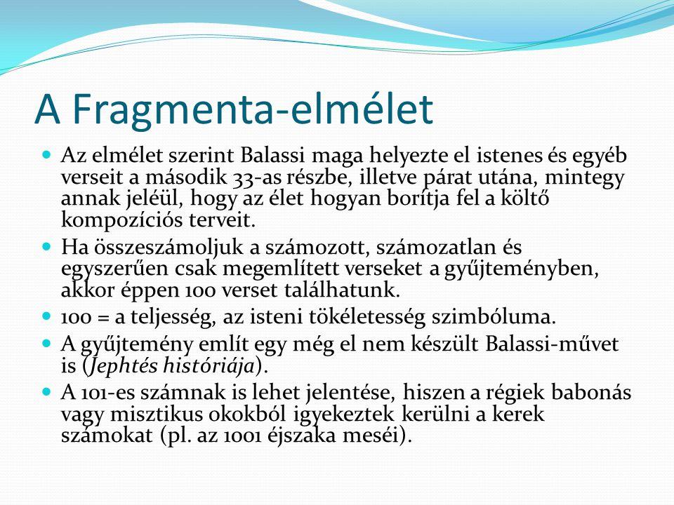 A Fragmenta-elmélet Az elmélet szerint Balassi maga helyezte el istenes és egyéb verseit a második 33-as részbe, illetve párat utána, mintegy annak je