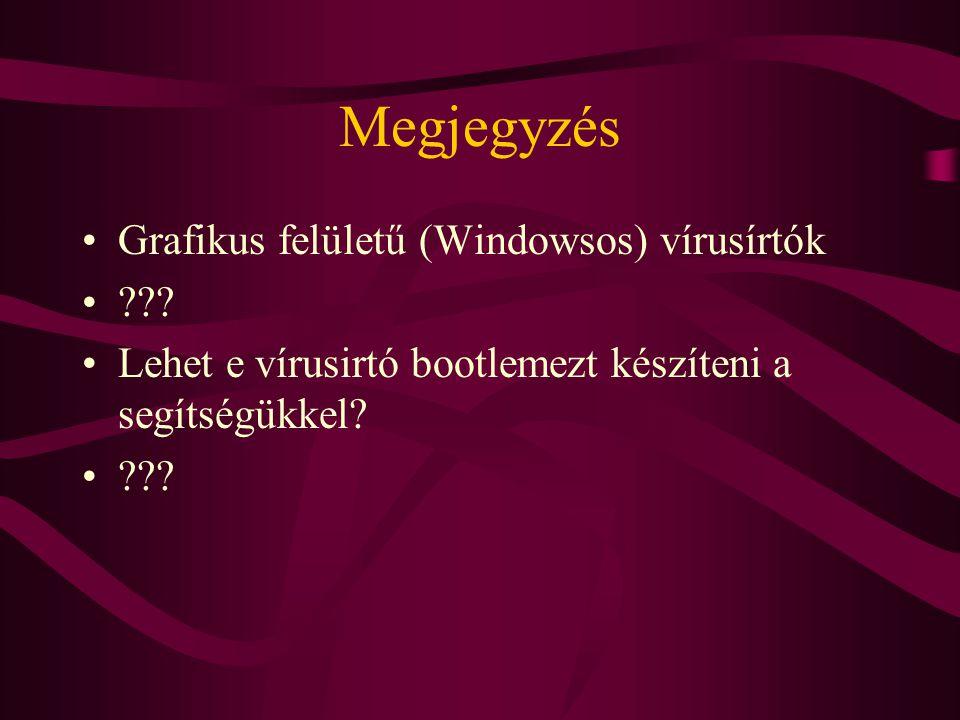 Megjegyzés Grafikus felületű (Windowsos) vírusírtók ??.
