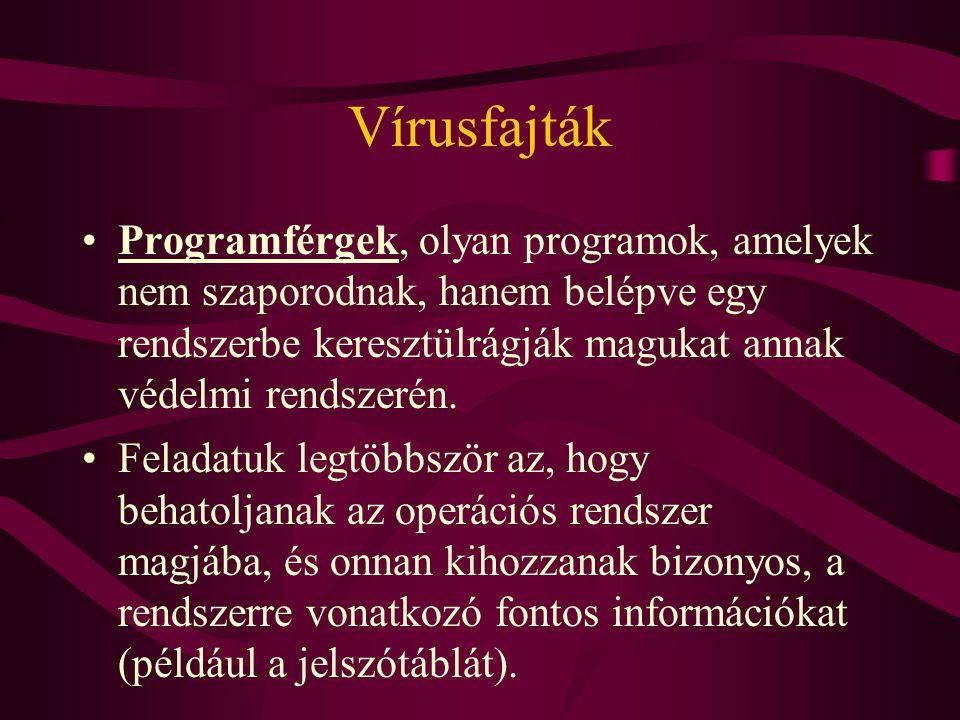 Vírusfajták Trójai faló típusú programok: ezek a programok csak álcázásra szolgálnak Mást tesznek, mint amit ígérnek azt vesszük észre, hogy programunk és adatállományaink tönkre mentek.