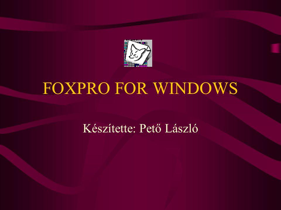 FOXPRO FOR WINDOWS Készítette: Pető László