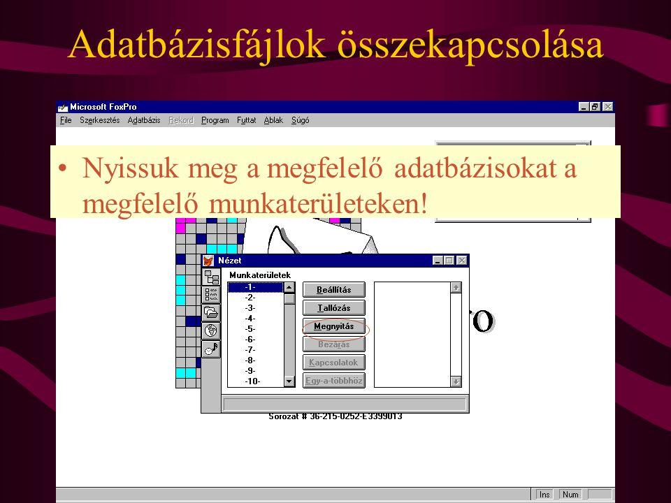 Adatbázisfájlok összekapcsolása Nyissuk meg a megfelelő adatbázisokat a megfelelő munkaterületeken!