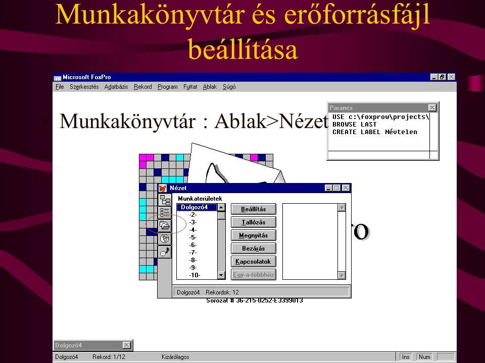 Munkakönyvtár és erőforrásfájl beállítása Munkakönyvtár : Ablak>Nézet
