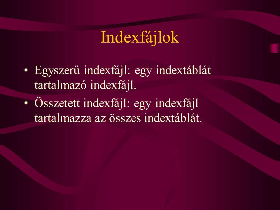 Indexfájlok Egyszerű indexfájl: egy indextáblát tartalmazó indexfájl. Összetett indexfájl: egy indexfájl tartalmazza az összes indextáblát.