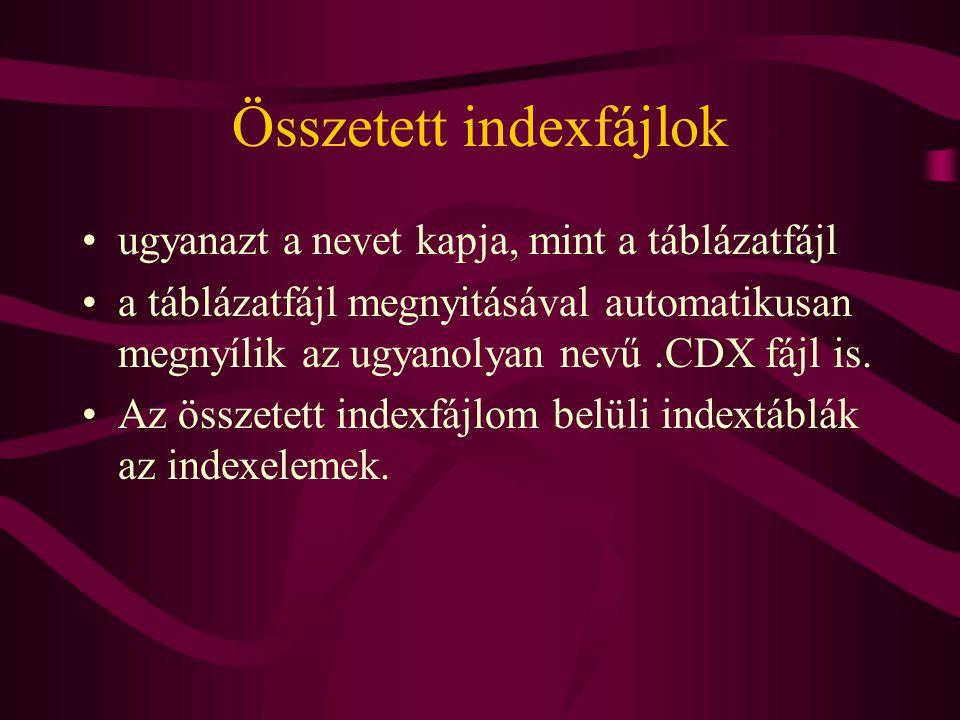 Összetett indexfájlok ugyanazt a nevet kapja, mint a táblázatfájl a táblázatfájl megnyitásával automatikusan megnyílik az ugyanolyan nevű.CDX fájl is.