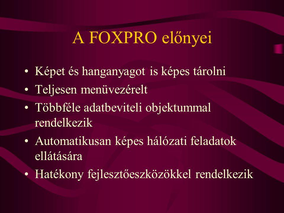 A FOXPRO előnyei Képet és hanganyagot is képes tárolni Teljesen menüvezérelt Többféle adatbeviteli objektummal rendelkezik Automatikusan képes hálózat