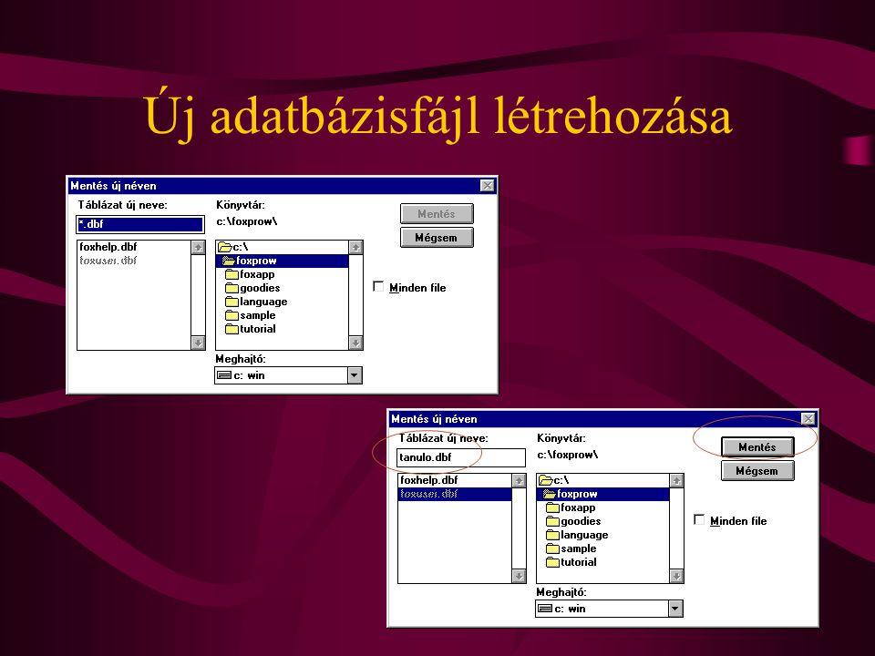 Új adatbázisfájl létrehozása