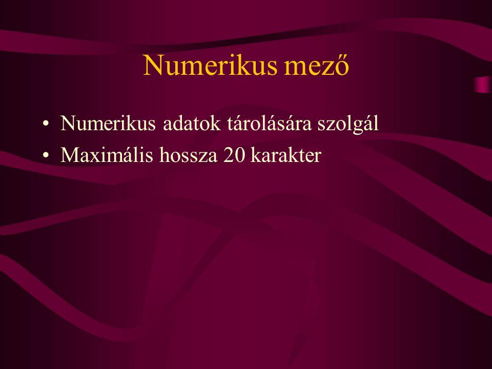 Numerikus mező Numerikus adatok tárolására szolgál Maximális hossza 20 karakter