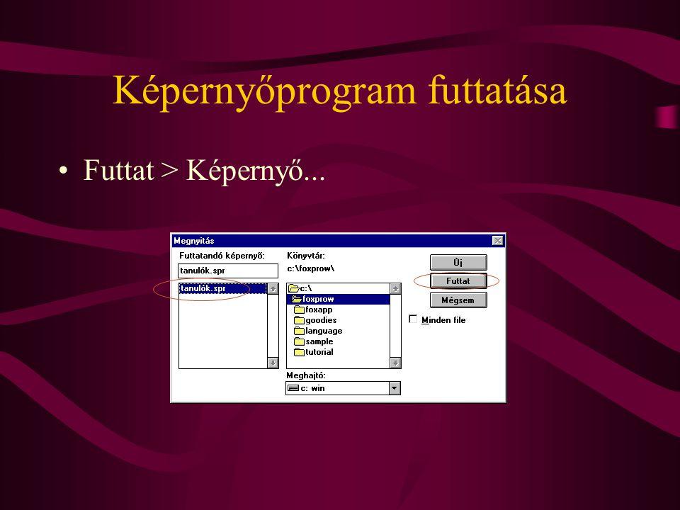 Képernyőprogram futtatása Futtat > Képernyő...
