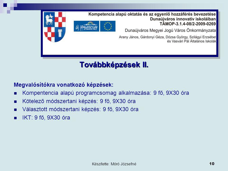 Készítette: Móró Józsefné10 Továbbképzések II.