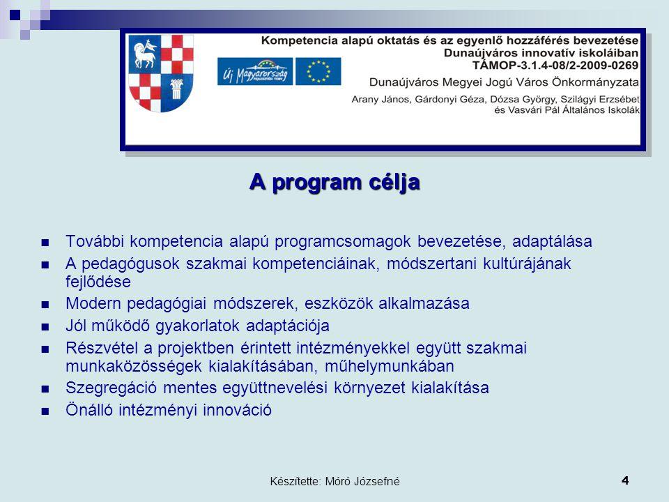 Készítette: Móró Józsefné4 A program célja További kompetencia alapú programcsomagok bevezetése, adaptálása A pedagógusok szakmai kompetenciáinak, módszertani kultúrájának fejlődése Modern pedagógiai módszerek, eszközök alkalmazása Jól működő gyakorlatok adaptációja Részvétel a projektben érintett intézményekkel együtt szakmai munkaközösségek kialakításában, műhelymunkában Szegregáció mentes együttnevelési környezet kialakítása Önálló intézményi innováció