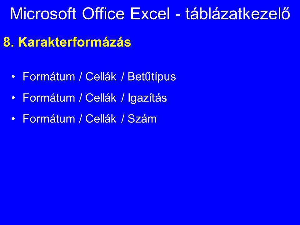 Microsoft Office Excel - táblázatkezelő 8. Karakterformázás Formátum / Cellák / Betűtípus Formátum / Cellák / Igazítás Formátum / Cellák / Szám