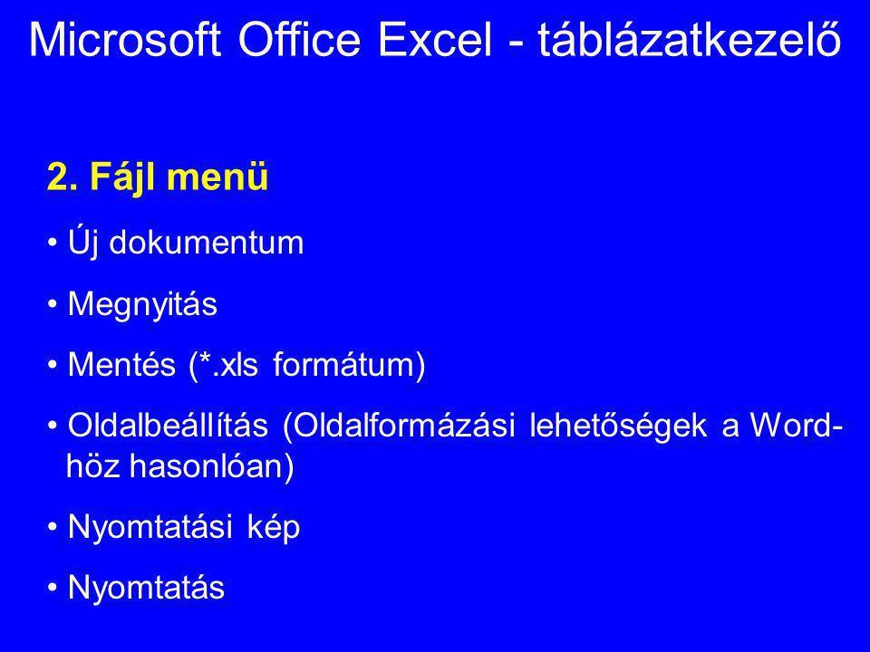 Microsoft Office Excel - táblázatkezelő 2. Fájl menü Új dokumentum Megnyitás Mentés (*.xls formátum) Oldalbeállítás (Oldalformázási lehetőségek a Word