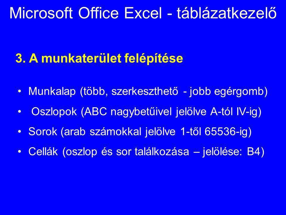 Microsoft Office Excel - táblázatkezelő 3. A munkaterület felépítése Munkalap (több, szerkeszthető - jobb egérgomb) Oszlopok (ABC nagybetűivel jelölve