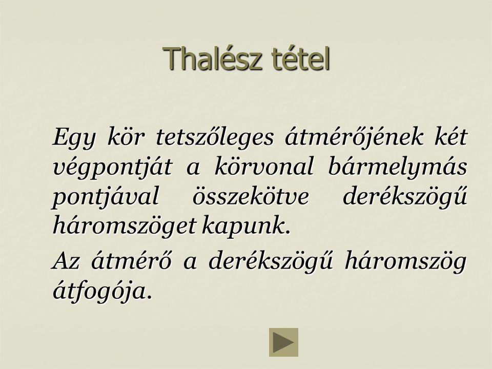 Teszt Miért nem érvényes Thalész tétele az átmérő két végpontjára.