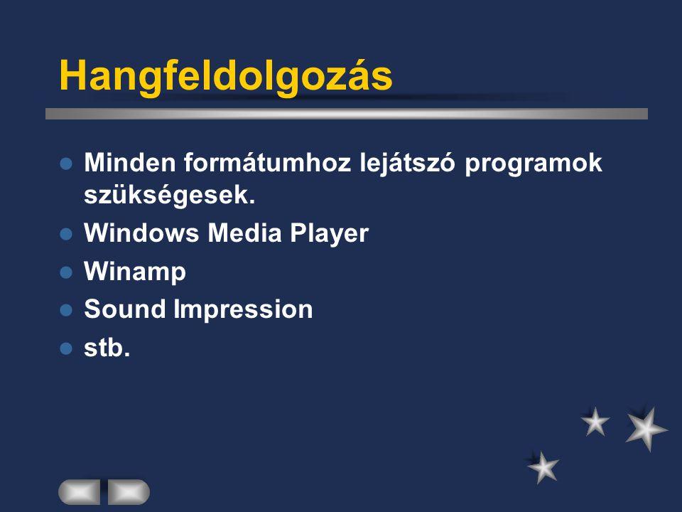 Videofeldolgozás A filmek általában a következő formátumokban lehetnek jelen a számítógépben: –AVI, MPEG, DivX, … (videofájl) –Video CD –DVD –Mi ezek közül csak videofájlokkal fogunk foglalkozni.
