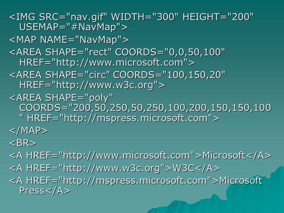 </MAP><BR> Microsoft Microsoft W3C W3C Microsoft Press Microsoft Press
