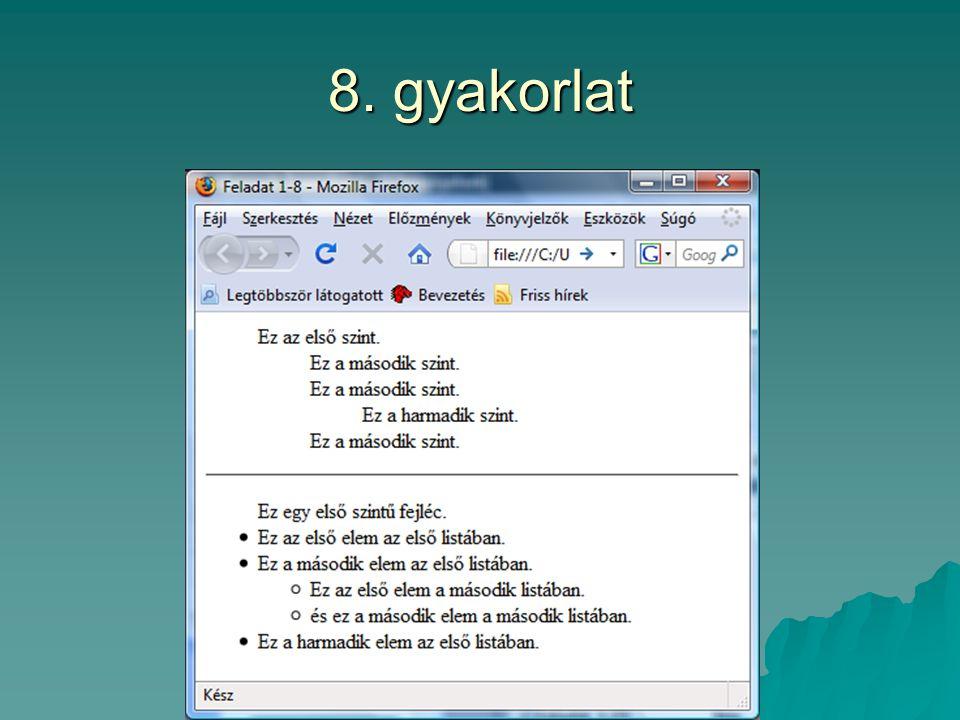 8. gyakorlat