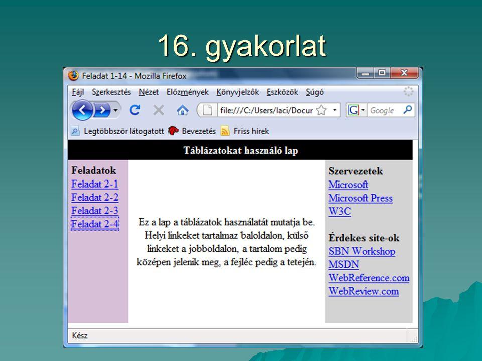 16. gyakorlat