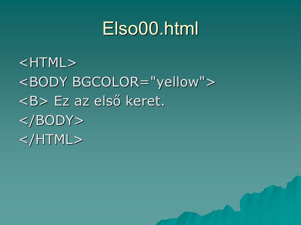 Elso00.html <HTML> Ez az első keret. Ez az első keret.</BODY></HTML>