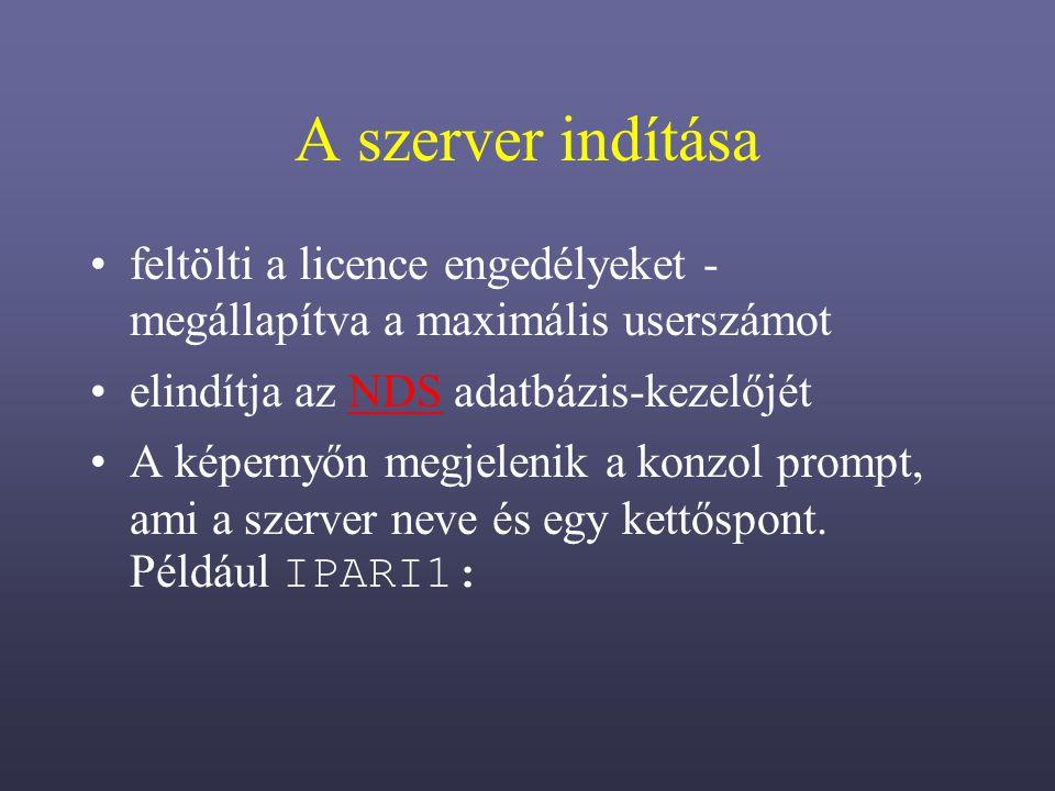 A szerver indítása feltölti a licence engedélyeket - megállapítva a maximális userszámot elindítja az NDS adatbázis-kezelőjétNDS A képernyőn megjelenik a konzol prompt, ami a szerver neve és egy kettőspont.