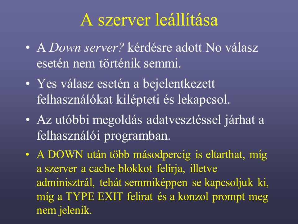 A szerver leállítása A Down server.kérdésre adott No válasz esetén nem történik semmi.